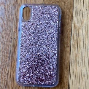 Pink glitter iPhone XR case